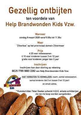 flyer Gezellig ontbijten ten voordele van Help Brandwonden kids
