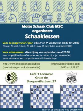 De Molse schaakclub start met schaaklessen