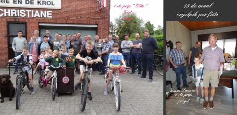 Voor de 18 maal vogelpik per fiets bij café Christiane